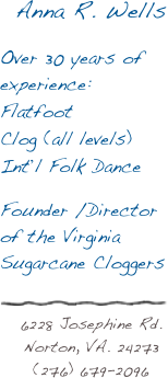 Anna R. Wells  Over 30 years of experience: Flatfoot Clog (all levels) Int'l Folk Dance  Founder /Director of the Virginia Sugarcane Cloggers  6228 Josephine Rd. Norton, VA. 24273 (276) 679-2096